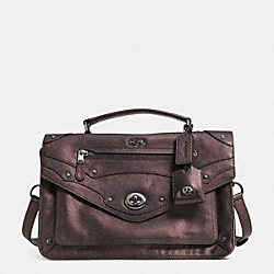 COACH F33738 Rhyder Messenger In Metallic Leather QBBRZ