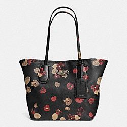 COACH F33743 - COACH TAXI TOTE IN FLORAL PRINT LEATHER  BN/BLACK MULTI