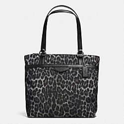 COACH F33754 Signature Stripe Ocelot Tote SILVER/GREY MULTI