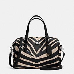 COACH F33765 Peyton Zebra Print Bennett Mini Satchel SILVER/BLACK