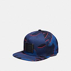 COACH F33775 Printed Flat Brim Hat BLUE CAMO