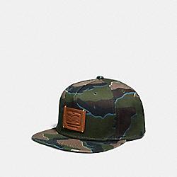 COACH F33775 Printed Flat Brim Hat GREEN CAMO
