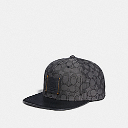 COACH F33776 Signature Flat Brim Hat BLACK/BLACK