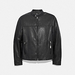 LEATHER RACER JACKET - f33779 - BLACK