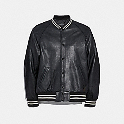 COACH F33784 Leather Varsity Jacket BLACK