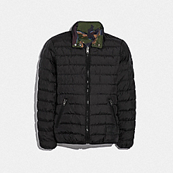 COACH F33790 Reversible Down Jacket BLACK GREEN CAMO