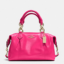 COACH F33806 Colette Satchel In Leather LIGHT GOLD/PINK RUBY