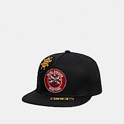 FLAT BRIM HAT WITH PATCHES - f33817 - BLACK