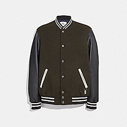 COACH F33820 - LEATHER AND WOOL VARSITY JACKET OLIVE