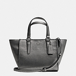 COACH F33848 - CROSBY MINI CARRYALL IN METALLIC LEATHER ANTIQUE NICKEL/GUNMETAL
