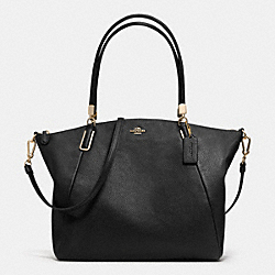 COACH F33854 - KELSEY SATCHEL IN PEBBLE LEATHER  LIGHT GOLD/BLACK