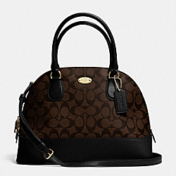 COACH F33904 Cora Domed Satchel In Signature Coated Canvas  LIGHT GOLD/BROWN/BLACK