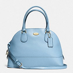 COACH F33909 - CORA DOMED SATCHEL IN CROSSGRAIN LEATHER LIGHT GOLD/PALE BLUE