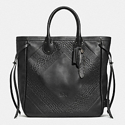 COACH F33925 Tatum Tall Tote In Tooling Leather BNBLK
