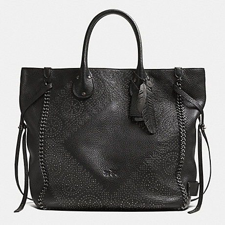TATUM LARGE STUDDED TALL TOTE IN WHIPLASH LEATHER - COACH F33928 - BNBLK