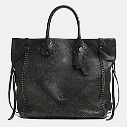COACH F33928 Tatum Large Studded Tall Tote In Whiplash Leather BNBLK