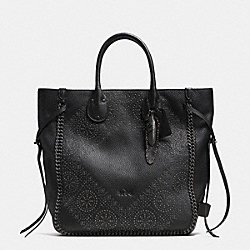 COACH F33938 Tatum Studded Tall Tote In Pebble Leather BNBLK