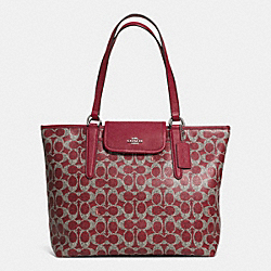 COACH F33960 - WARD TOTE IN SIGNATURE COATED CANVAS  SILVER/RED/RED