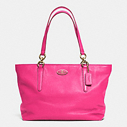 COACH F33961 Ellis Tote In Leather LIGHT GOLD/PINK RUBY