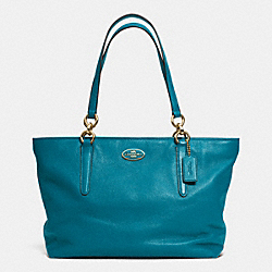 COACH F33961 - ELLIS TOTE IN LEATHER  SILVER/TEAL