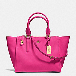 COACH F33995 - CROSBY CARRYALL IN CROSSGRAIN LEATHER  LIGHT GOLD/PINK RUBY