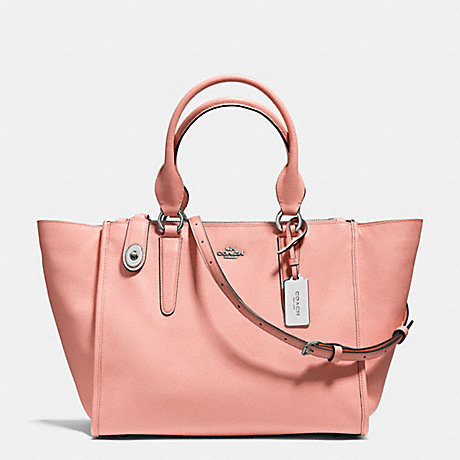 COACH f33995 CROSBY CARRYALL IN CROSSGRAIN LEATHER SILVER/PINK