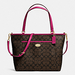 COACH F33998 - POCKET TOTE IN SIGNATURE IMITATION GOLD/BROWN/CRANBERRY