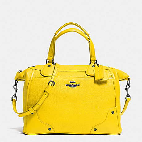 Coach F34040 Mickie Satchel In Grain Leather Qb Yellow