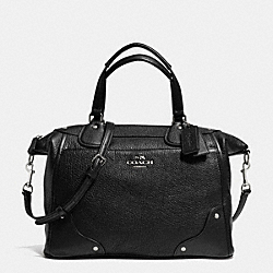 COACH F34040 - MICKIE SATCHEL IN GRAIN LEATHER SILVER/BLACK