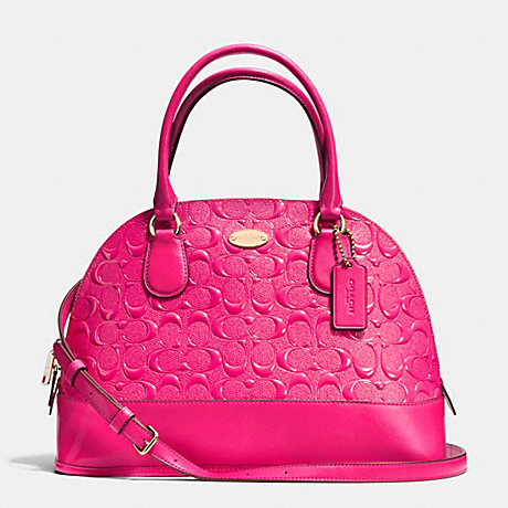 7b32c79b43 COACH f34052 CORA DOMED SATCHEL IN DEBOSSED PATENT LEATHER LIGHT GOLD PINK  RUBY