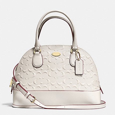 8a4b5387b3 COACH f34052 CORA DOMED SATCHEL IN DEBOSSED PATENT LEATHER LIGHT GOLD CHALK