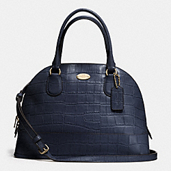 COACH CORA DOMED SATCHEL IN EMBOSSED CROCO LEATHER - LIGHT GOLD/MIDNIGHT - F34053