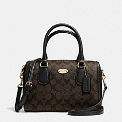 SIGNATURE MINI BENNETT SATCHEL - f34084 - LIGHT GOLD/BROWN/BLACK