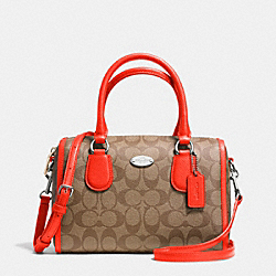COACH F34084 Mini Bennett Satchel In Signature SILVER/KHAKI/ORANGE