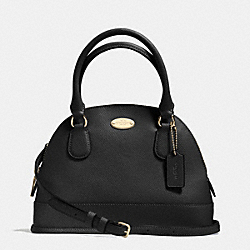 COACH MINI CORA DOMED SATCHEL IN CROSSGRAIN LEATHER - LIGHT GOLD/BLACK - F34090