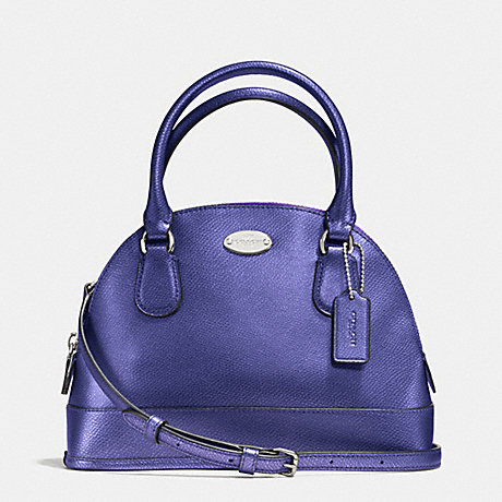 COACH f34090 MINI CORA DOMED SATCHEL IN CROSSGRAIN LEATHER SILVER/METALLIC PURPLE IRIS