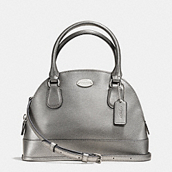 COACH MINI CORA DOMED SATCHEL IN CROSSGRAIN LEATHER - SILVER/PEWTER - F34090