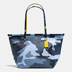 COACH F34095 Street Zip Tote In Camo Print  SILVER/BLUE MULTICOLOR