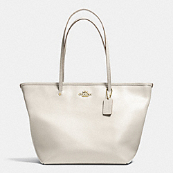 COACH F34103 Street Zip Tote In Leather LIGHT GOLD/CHALK