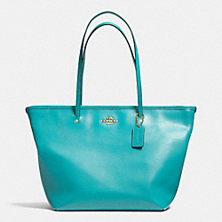 COACH STREET ZIP TOTE IN CROSSGRAIN LEATHER - LIGHT GOLD/CADET BLUE - F34103