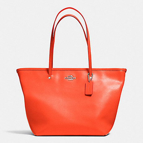 COACH F34103 STREET ZIP TOTE IN LEATHER SILVER/CORAL