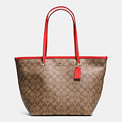 COACH F34104 - SIGNATURE STREET ZIP TOTE LIGHT GOLD/KHAKI/CORAL