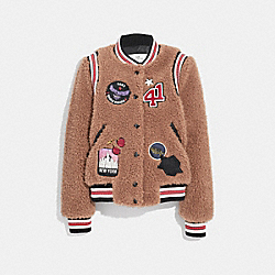 FAUX FUR VARSITY JACKET - f34120 - BROWN