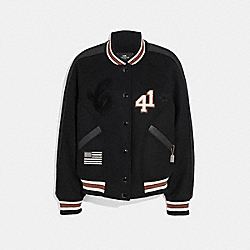 COACH F34122 Varsity Jacket BLACK/BLACK