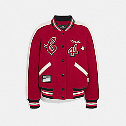 COACH F34122 Varsity Jacket RED/OPARCHMENT