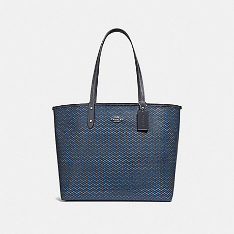 COACH F34263 REVERSIBLE CITY TOTE WITH LEGACY PRINT NAVY/SILVER