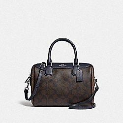 MINI BENNETT SATCHEL IN BLOCKED SIGNATURE CANVAS - F34279 - SV/BROWN MIDNIGHT