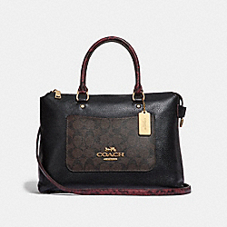 EMMA SATCHEL IN SIGNATURE CANVAS COLORBLOCK - f34280 - brown black/multi/light gold