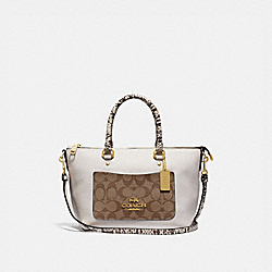 COACH F34281 Mini Emma Satchel In Signature Canvas Colorblock KHAKI MULTI /IMITATION GOLD