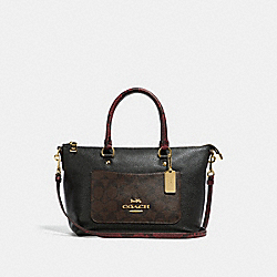 MINI EMMA SATCHEL IN SIGNATURE CANVAS COLORBLOCK - f34281 - brown black/multi/light gold